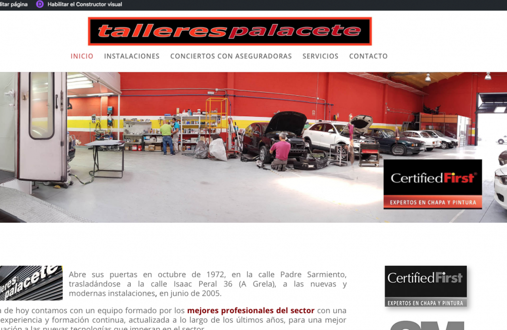Nueva web de TALLERES PALACETE
