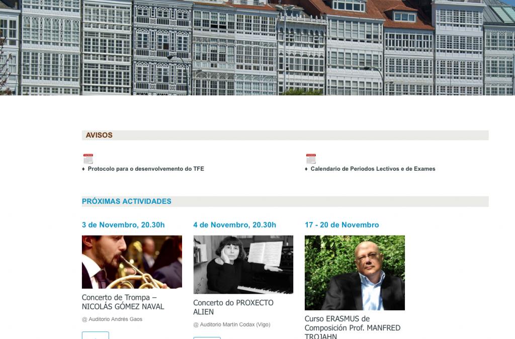 Estrenamos nueva web en el Conservatorio Superior de Música de La Coruña